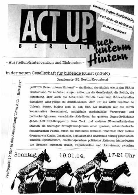 Podiusmdiskussion ACT UP Berlin nGbK 19. Januar 2014