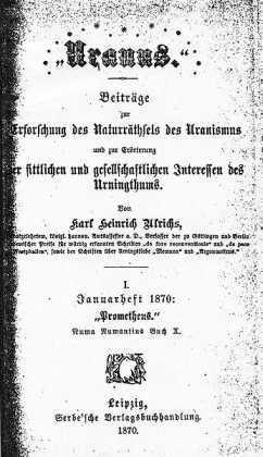 Umschlag der Zeitschrift Uranus, von Karl Heinrich Ulrichs verfasst und 1870 veröffentlicht