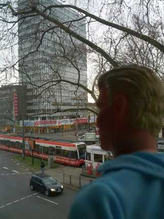 Todd watching a building