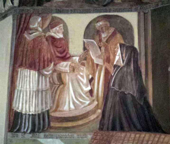 """Rita Seligsprechung (""""Wie St. Rita seliggesprochen wurde', Wandgemälde in der Augustinerkirche Würzburg)"""