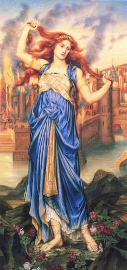 Die verzweifelte Kassandra vor der brennenden Stadt Troja. Evelyn de Morgan 1898. De Morgan Center London