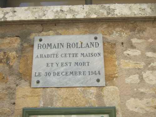 Gedenktafel für Romain Rolland an seinem früheren Wohnhaus in Vézelay