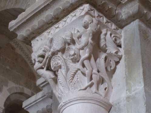 Vezelay Basilika Sainte Marie Madeleine Kapitell Wollust und Verzweiflung