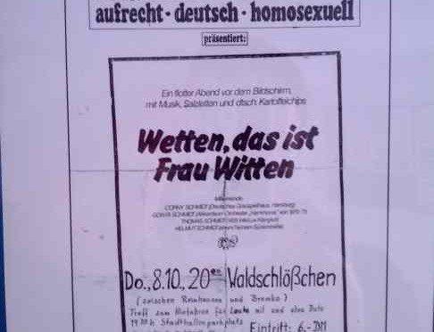 Familie Schmidt / Wetten das ist Frau Witten, Plakat für Auftritt im Waldschlößchen 1981
