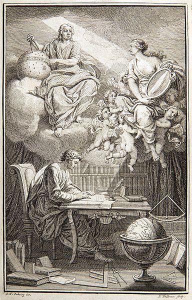 Denker der Aufklärung: Voltaire (hier: Elémens de la philosophie de Newton, mis à la portée de tout le monde, 1738, Frontispiz)