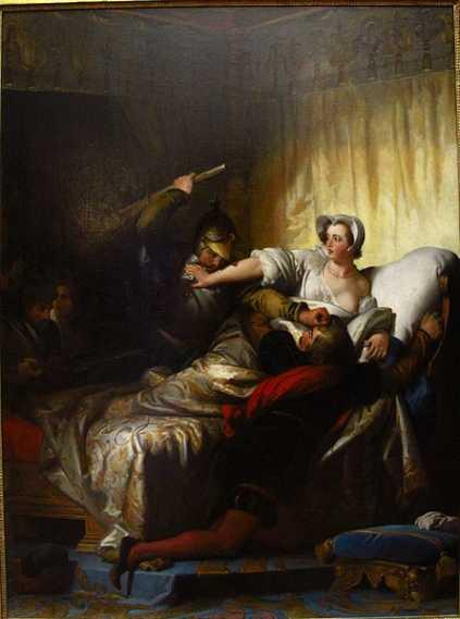Szene im Schlafzimmer Margaretes von Valois während der Bartholomäusnacht, Alexandre-Évariste Fragonard (1780–1850)