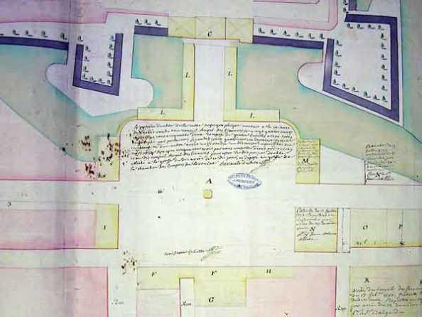 Nancy, place Stanislas, Plan aus dem Jahr 1752 (Plan annexé à la minute de l'arrêt du Conseil royal des Finances du 24 mars 1752)