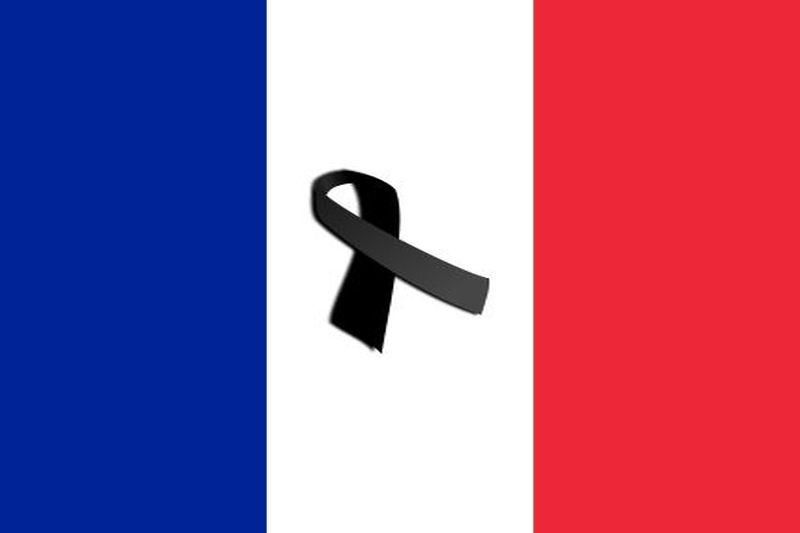 Frankreich Flagge black ribbon