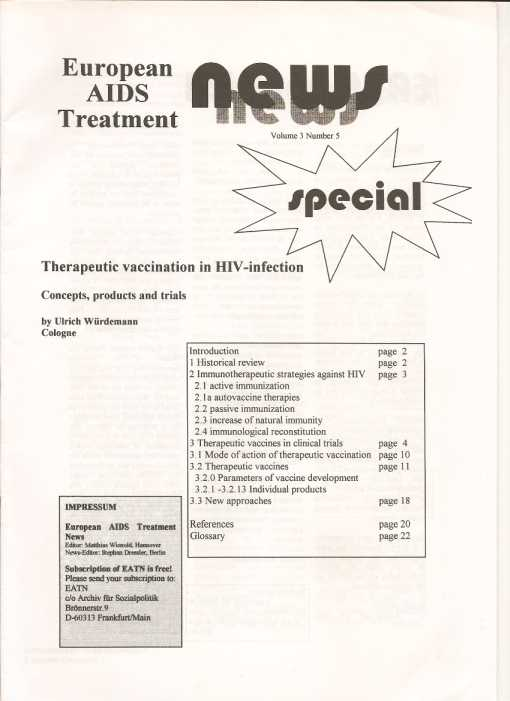 Therapeutic vaccination in HIV infection, Ulrich Würdemann, EATN 1995 Vol. 3 No.5