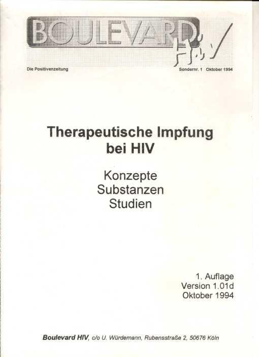 Therapeutische Impfung bei HIV , Ulrich Würdemann, Boulevard HIV Sondernummer 1, 1994