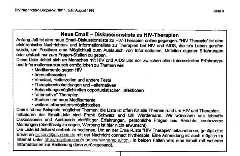 Email Diskussionsliste HIV Therapie - Hinweis in HIV Nachrichten 10/11, Juli/August 1998