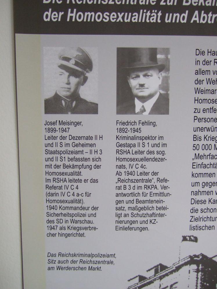 Potsdam Ausstellung Homosexuellenverfolgung 1933-45 (2009; Tafel über Meisinger, Fehling)