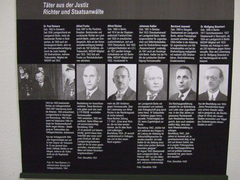 Potsdam Ausstellung Homosexuellenverfolgung 1933-45 (2009; Tafel Täter aus der Justiz)