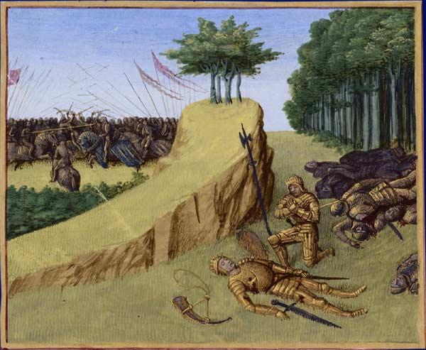 Tod des Roland / Schlacht bei Ronceveaux 778, Jean Fouquet, Tours, um 1455-1460