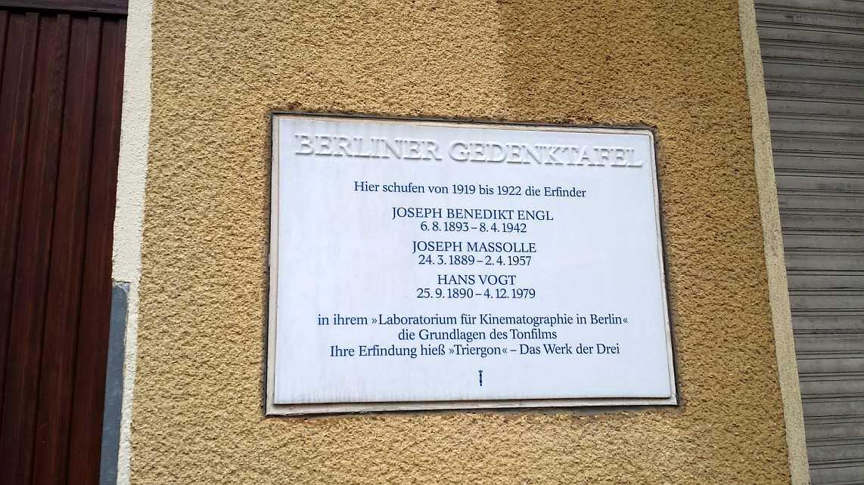 Tri Ergon - Gedenktafel für das 'Laboratorium für Kinematographie in Berlin'