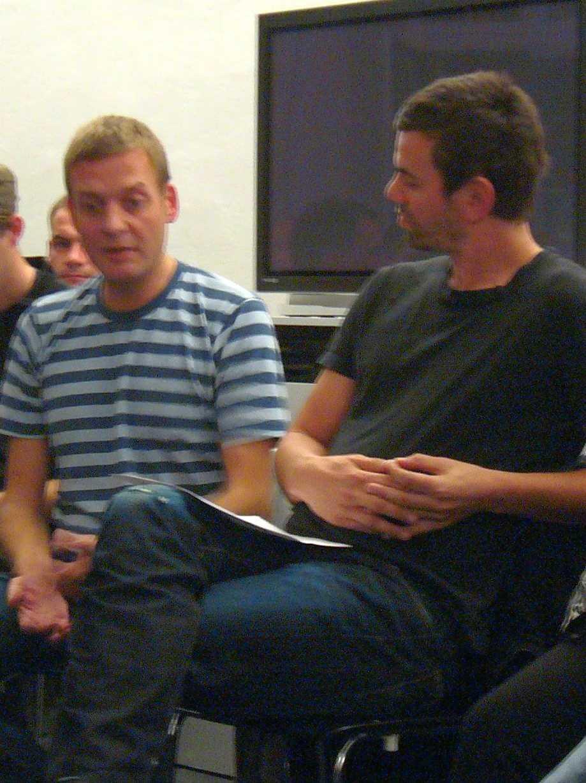 Michael Elmgreen und Ingar Dragset 2006 bei der Diskussion über das Denkmal für die im Nationalsozialismus verfolgten Homosexuellen