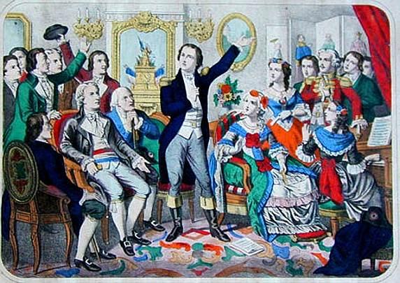 Rouget de Lisle, Komponist der Marseillaise, trägt das Lied erstmals vor (französisches Gemälde, 19. Jahrhundert) (wikimedia / public domain)