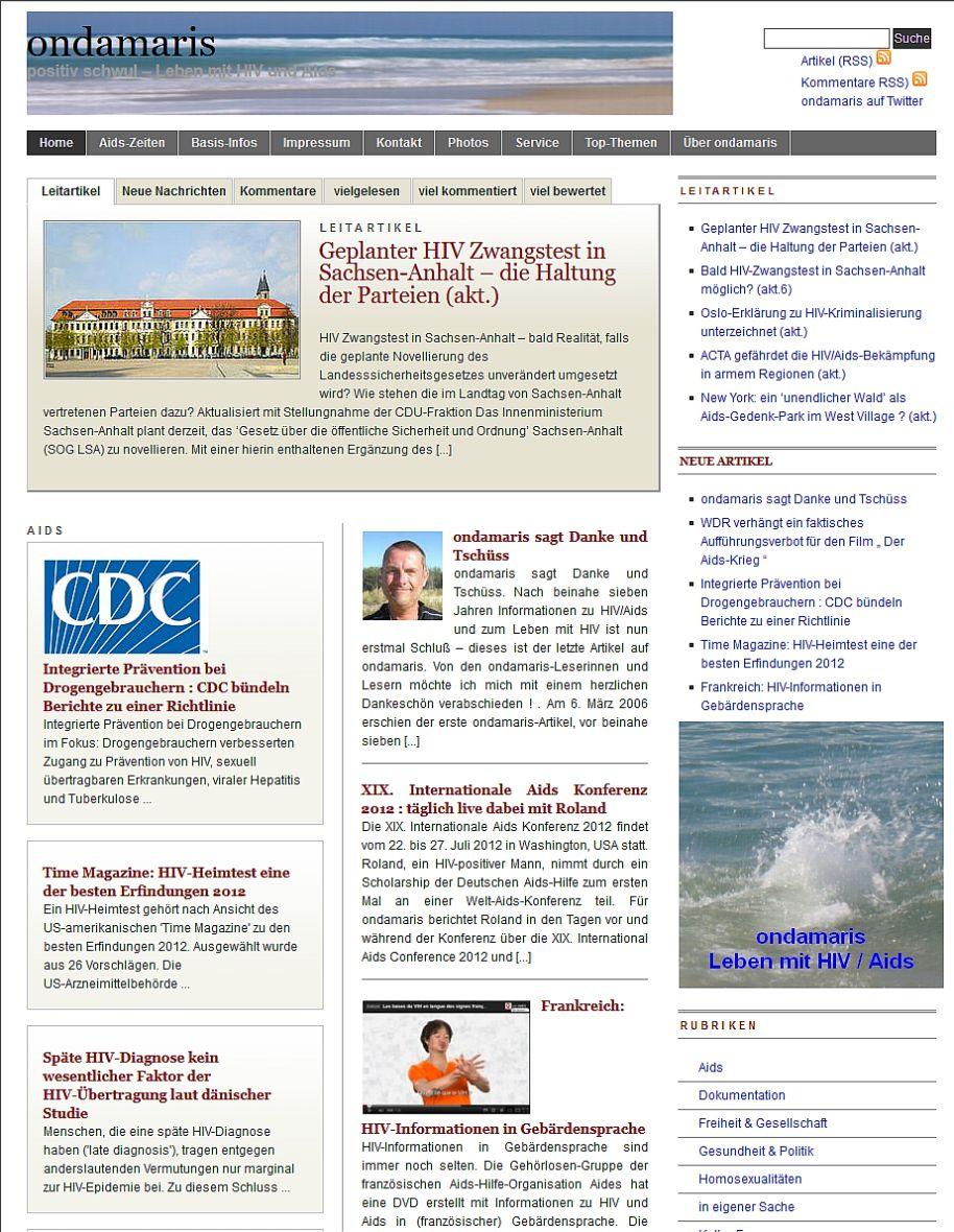 die ondamaris Startseite am 15. November 2012 , Ausschnitt (nach Einstellung)