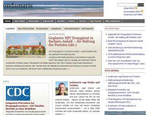 ondamaris Startseite, Ausschnitt, Zustand 15. November 2012 (nach Einstellung)