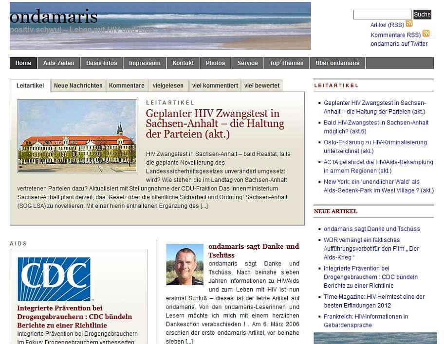 Abschaltung ondamaris Ende 2017 / frühere Startseite, Ausschnitt, Zustand 15. November 2012 (nach Einstellung)