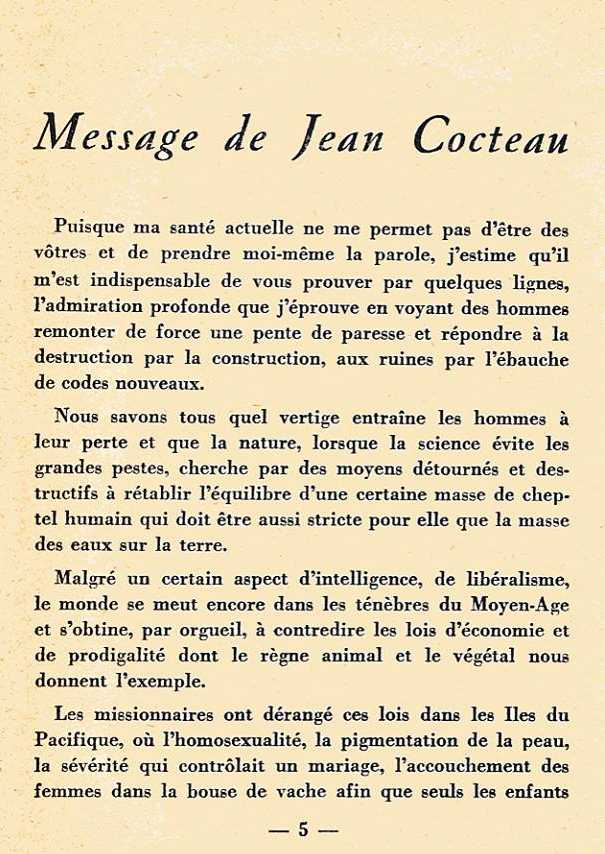 Arcadie Message de Jean Cocteau