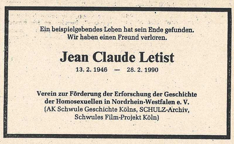 Traueranzeige Jean Claude Letist