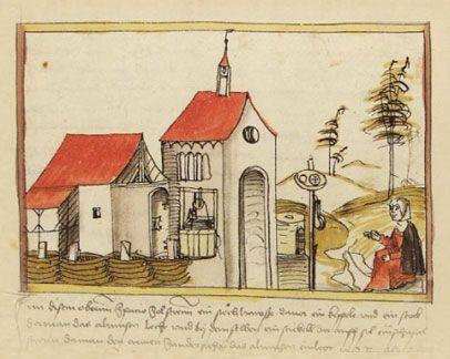 Das Siechenhaus, Darstellung im Volkacher Salbuch -  Niklas Brobst von Effelt - Volkacher Salbuch  Public Domain