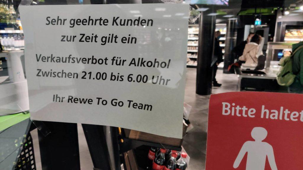 Alkohol Verkauf verboten nachts