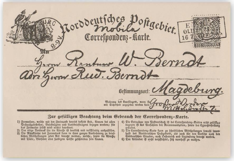 Erfinder der Ansichtskarte - August Schwartz Correspondenz-Karte 1870 - die erste Ansichtskarte bebilderet Vorderseite
