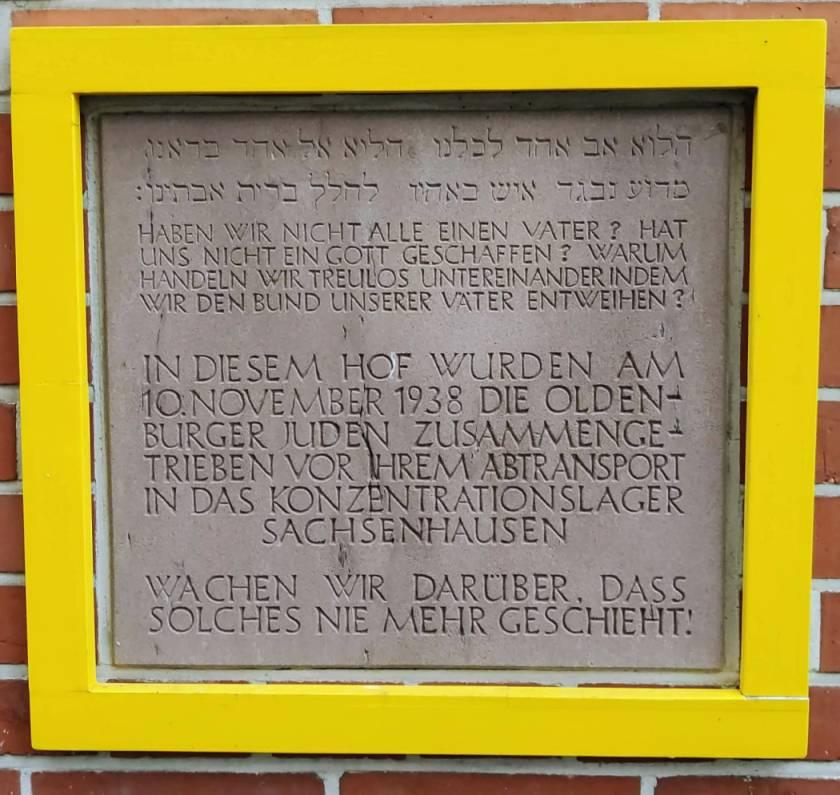 Gedenktafel Deportation Oldenburger Juden 1938 Landesbibliothek Oldenburg